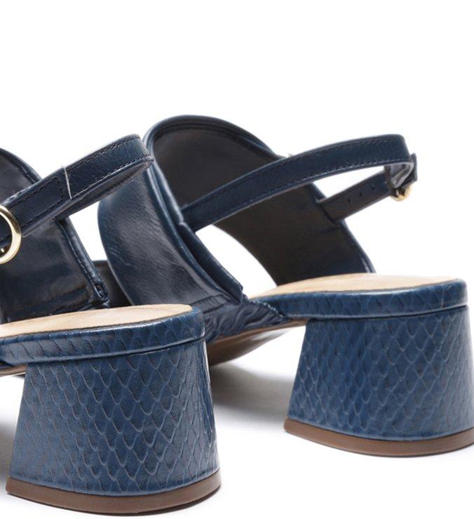 Sandália Couro Soft Tiras Fivela Office Blue