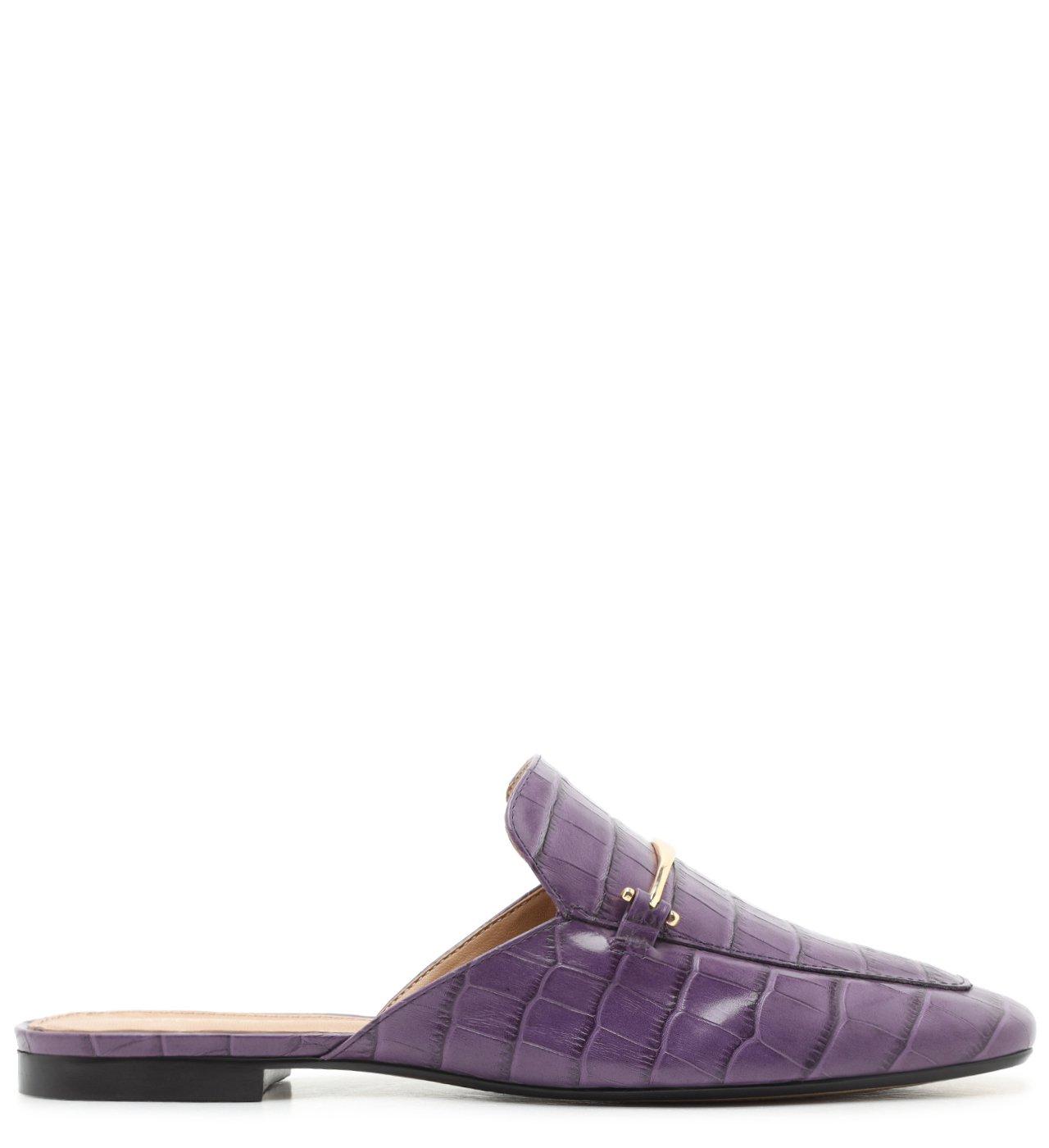 Mule Roxa Croco Salto Rasteiro Real Purple | Arezzo