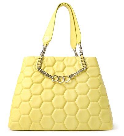 Bolsa Shopping Amarela Couro Bee.ZZ Grande