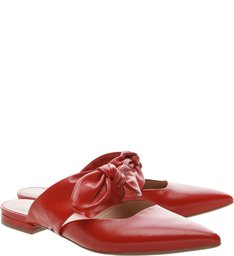 Mule Aberta Lace Up Couro Royal Red
