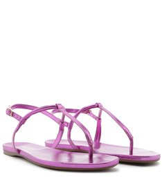 Sandália Rasteira Metalizada Tiras Pink
