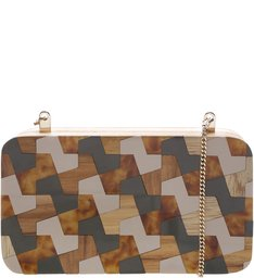 Bolsa Clutch Madeira Katerinna City Army e Latte