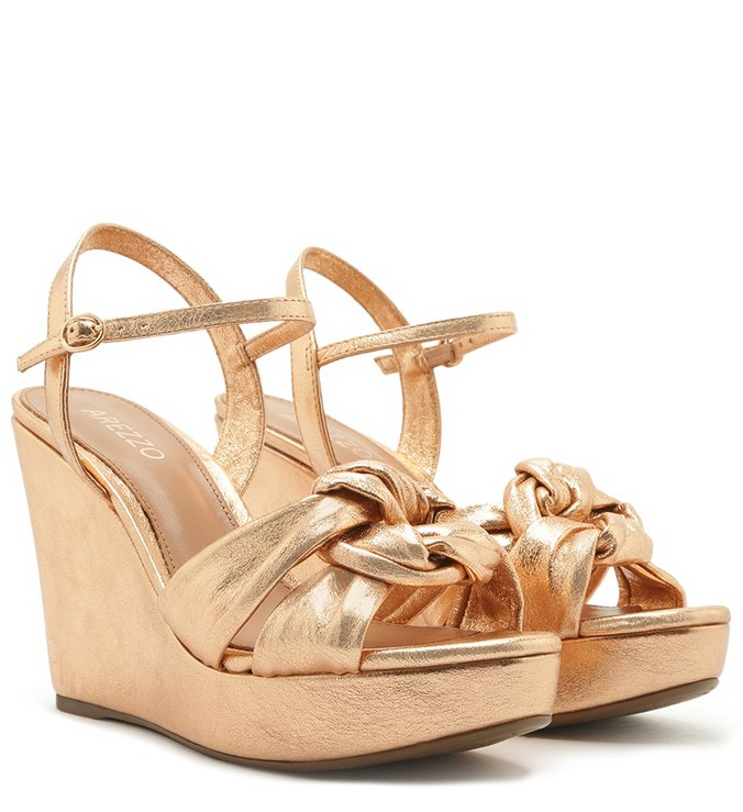 Sandália Dourada Rosé Plataforma Couro Nó