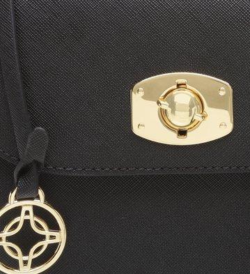 Bolsa Tiracolo Pequena Metal Preta