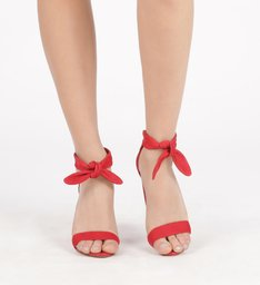 Sandália Lace-Up Nobuck Salto Bloco Alto Lust Red