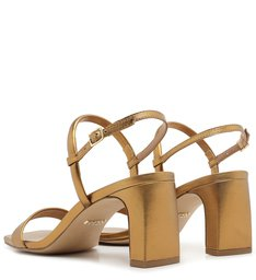 Sandália Dourada Couro Salto Bloco Fivela Toast Gold