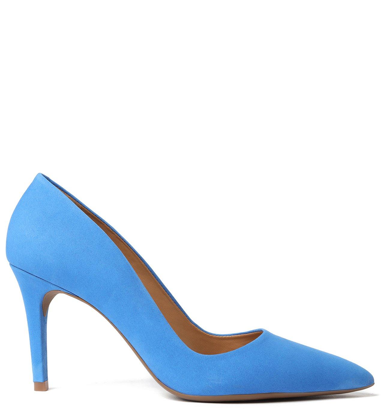 Scarpin Azul Nobuck Salto Fino Deep Blue   Arezzo