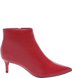 Bota Couro Kitten Heel Cano Curto Royal Red