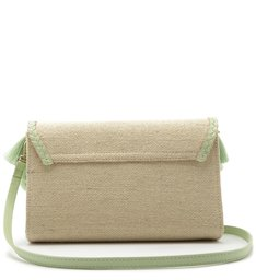 Clutch Palha Lilian Pequena Natural e Baby Green