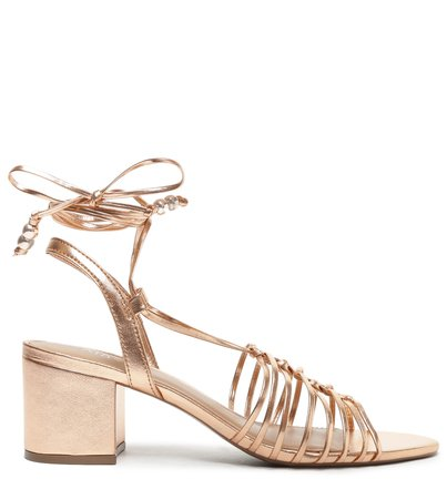 Sandália Metalizada Rosé Tiras Salto Bloco