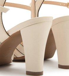 Sandália Couro Salto Médio Tiras Porcelana e Preto