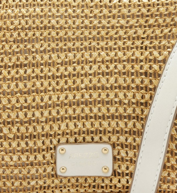 Bolsa Tiracolo Fibra Natural Milena Pequena Camel e Bianco