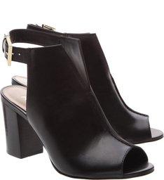 Sandal Boot Couro Recorte Preta