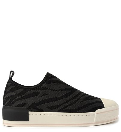 Slip On Preto Knit Animal Print