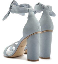 Sandália Lace-Up Nobuck Salto Bloco Alto Soft Blue