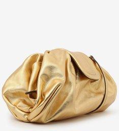 Bolsa Tiracolo Dourada Grande de Couro New Golden Fiore