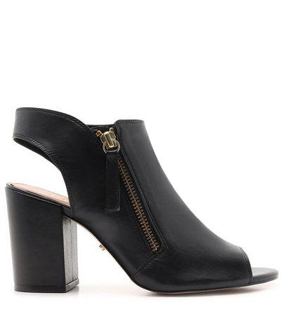 Sandal Boot Preta Couro Zíper Salto Bloco