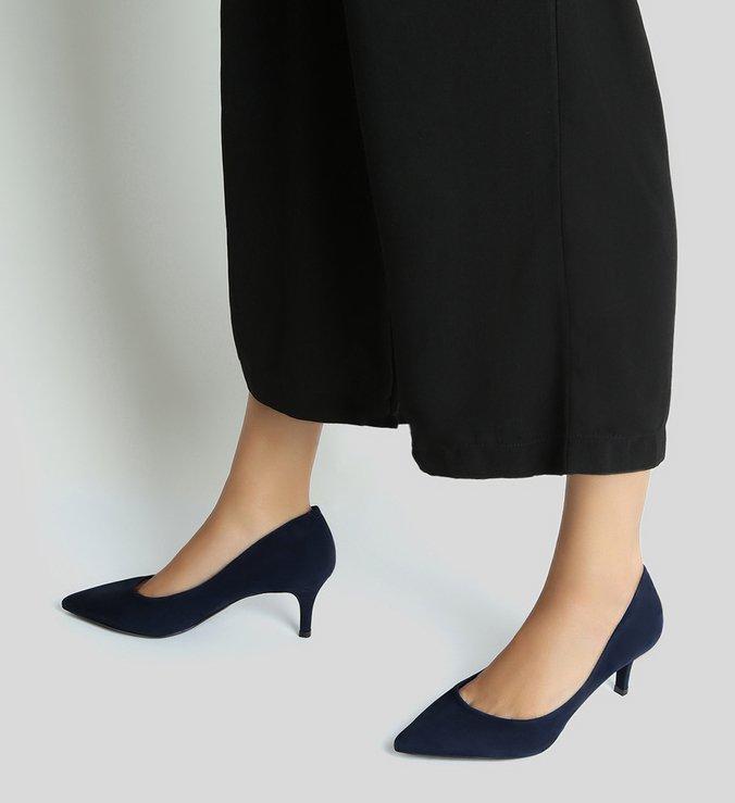 Scarpin Nobuck Salto Fino Azul Oxford