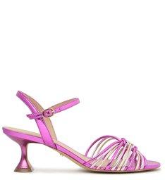 Sandália Rosa Metalizada Salto Taça com Tiras Pink Metal