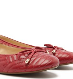 Sapatilha Couro Soft Costuras Tiny Bow Cherry Red