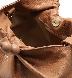 Bolsa Bucket Nude Snake Poliana Média Pale Nut