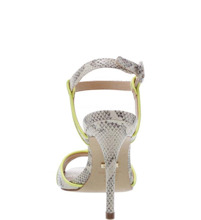 Sandália Snake Salto Alto Fino Porcelana e Neon Limão