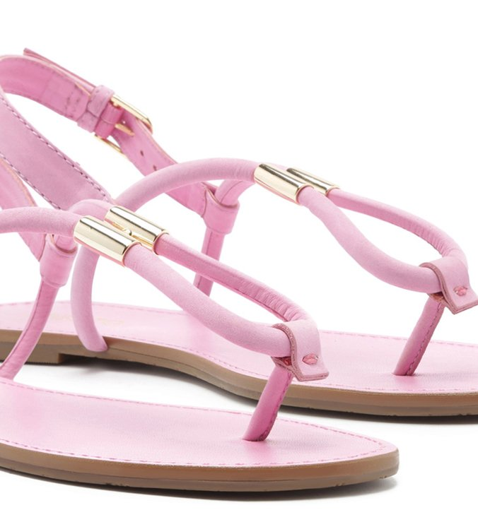 Sandália Rasteira Nobuck Tiras Pingente Baby Pink