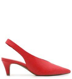 Scarpin Snake Salto Baixo Bico Fino Neo Red