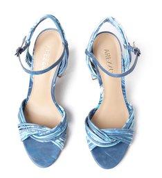 Sandália Azul Couro Salto Alto Clara