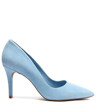 Scarpin Azul Nobuck Salto Fino