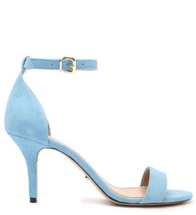 Sandália Azul Nobuck Isabelli Salto Médio