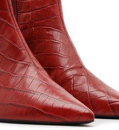 Bota Cano Curto Vermelha Croco Salto Fino Soft Rubi
