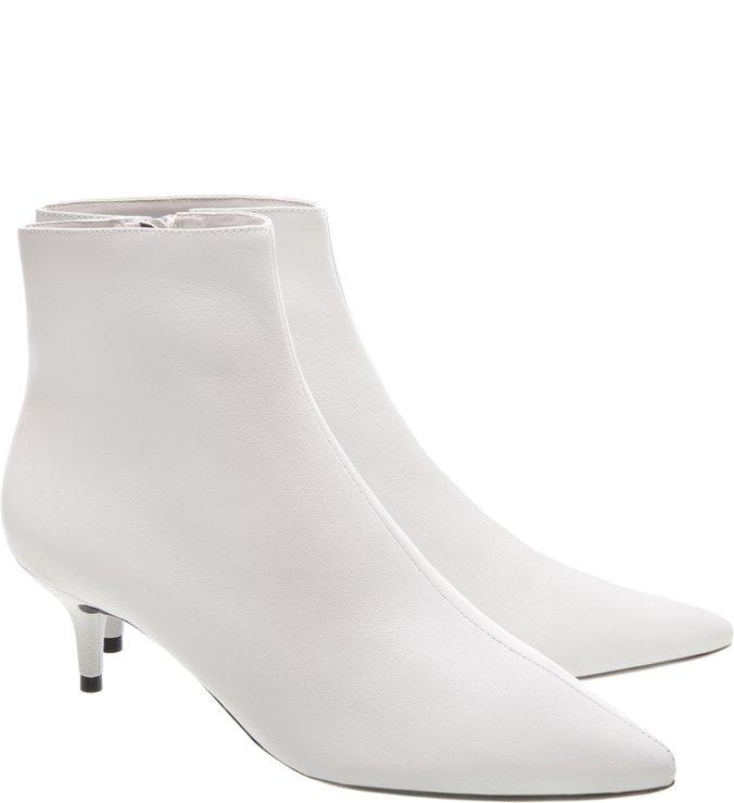 Bota Couro Kitten Heel Cano Curto Bianco
