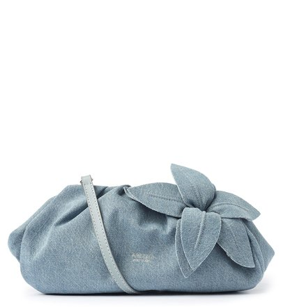 Bolsa Tiracolo Azul Jeans Couro Lily média
