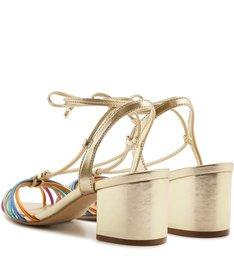 Sandália Amarração Metal Salto Bloco Platino e Colorida