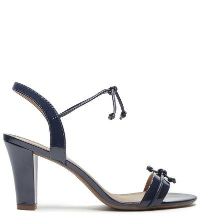 Sandália Azul Verniz Salto Bloco Tira Amarração