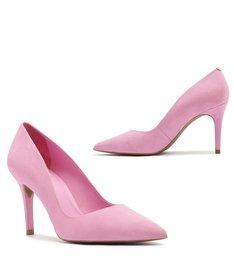 Scarpin Nobuck Salto Médio Bico Fino Baby Pink