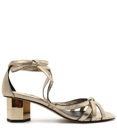 Sandália Dourada Couro Bloco Hexagonal