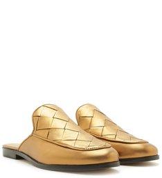 Mule Mocassim Couro Tressê Fechada Toast Gold
