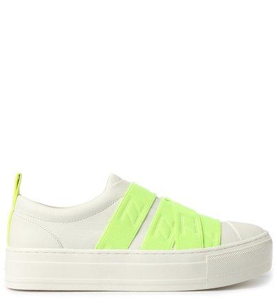 Slip On Branco Couro Elásticos Verde Neon