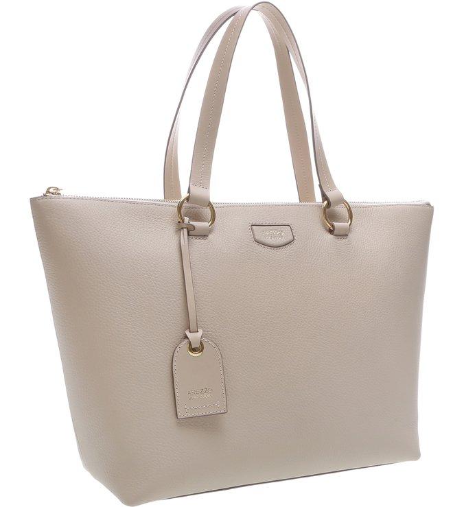Bolsa Couro Shopping Grande Giornata Nero Off White