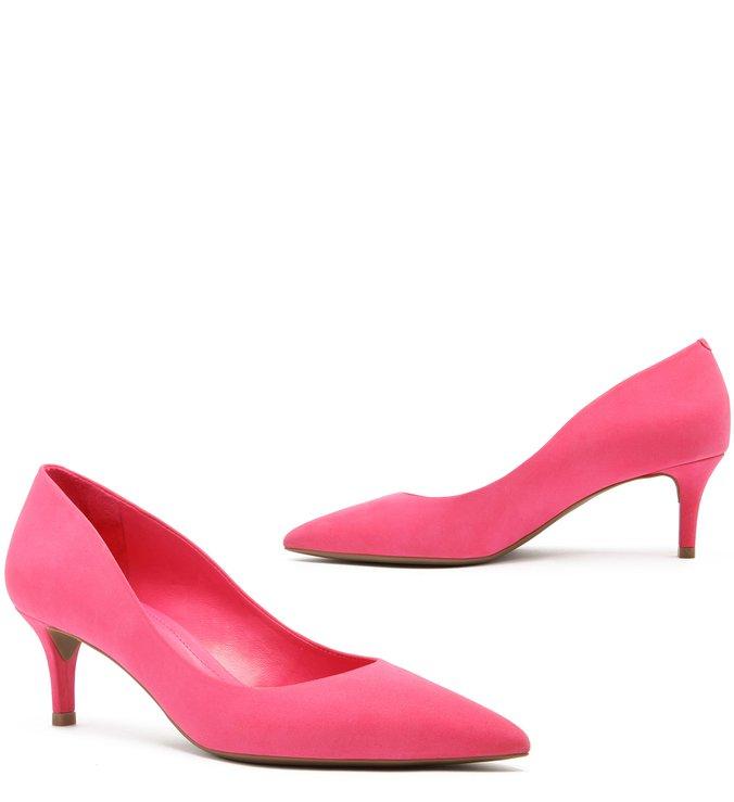 Scarpin Nobuck Salto Kitten Bico Fino Pink Absolut