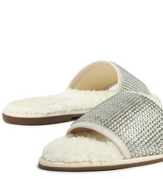 Chinelo Slide Off White Malha Cristal Home