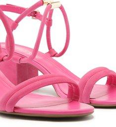 Sandália Nobuck Salto Bloco Tiras Pink Absolut