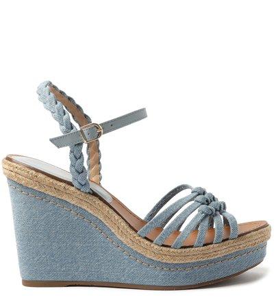 Sandália Azul Jeans Plataforma Tiras Nós