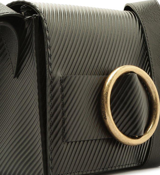 Bolsa Tiracolo Couro Allegra Stripes Pequena Preta