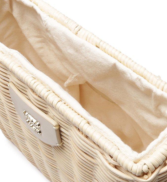 Bolsa Tiracolo Palha Pequena Natural e Off-White
