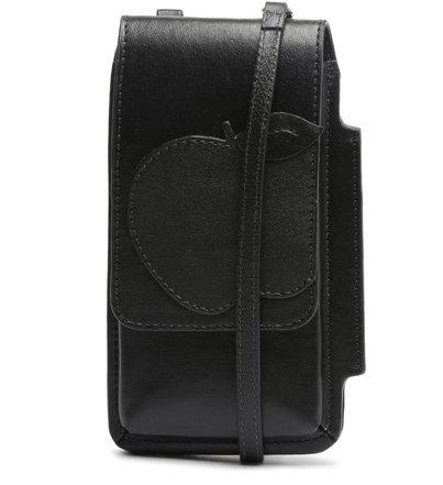 Mini Bolsa Porta-Celular Preta Couro Nina