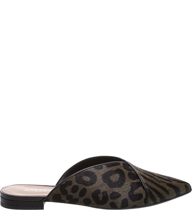 Mule Bico Fino Pelo West Animal Print Preto e City Army