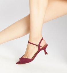 Sandália Vermelha Nobuck Salto Fino Fivela